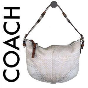 COACH TAN OFF WHITE SHOULDER BAG